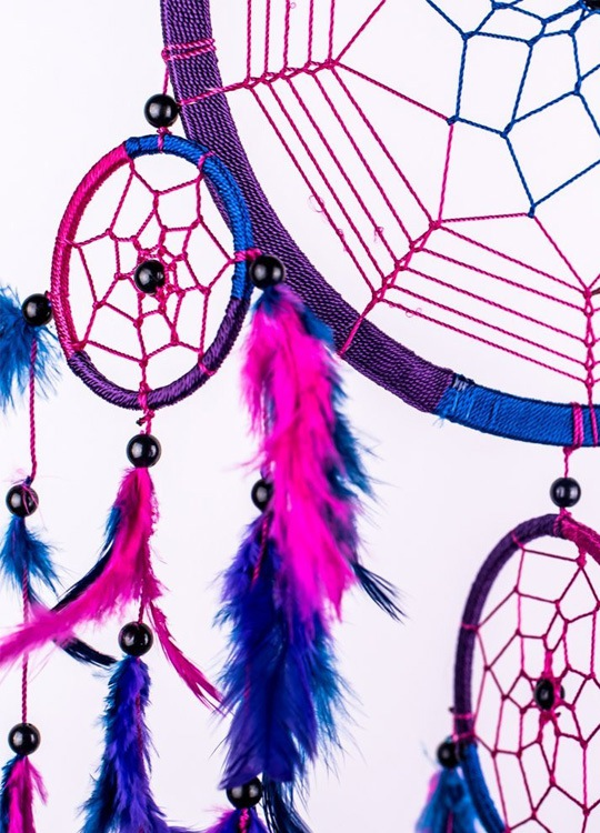 Attrape Rêve Abequa Violet et Fushia - Détail 2
