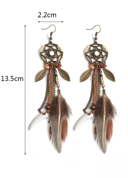 Boucles d'Oreilles Wakanda Plumes - Taille
