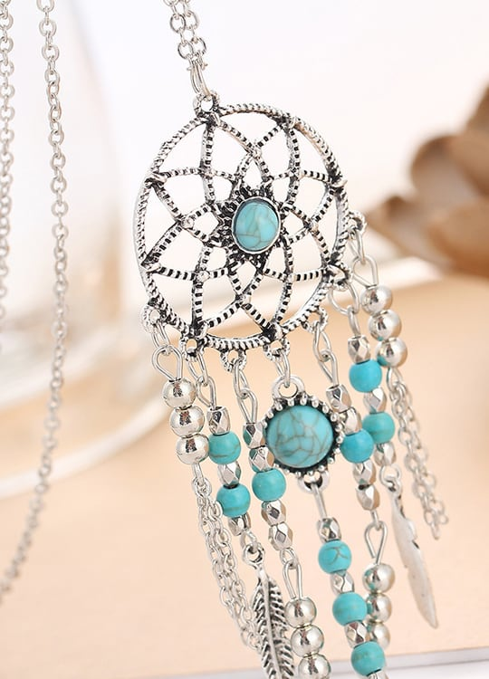 Collier Attrapes Reves Cheyenne Perles Bleues Vue de Face 2